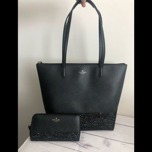 Kate spade large glitter tote and wallet set